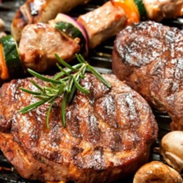 grilled catering steak and kabobs